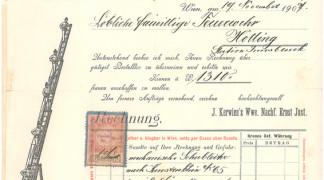 Bild von 1907 – Rechnung über den Ankauf einer mechanischen Leiter