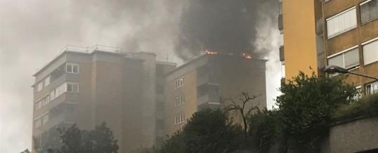 Brand auf Hochhausdach