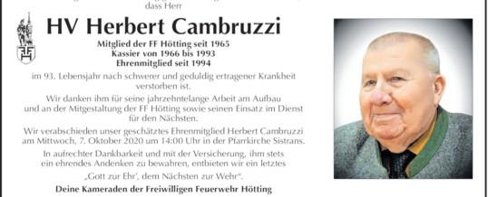 Ehrenmitglied, HV Herbert Cambruzzi verstorben